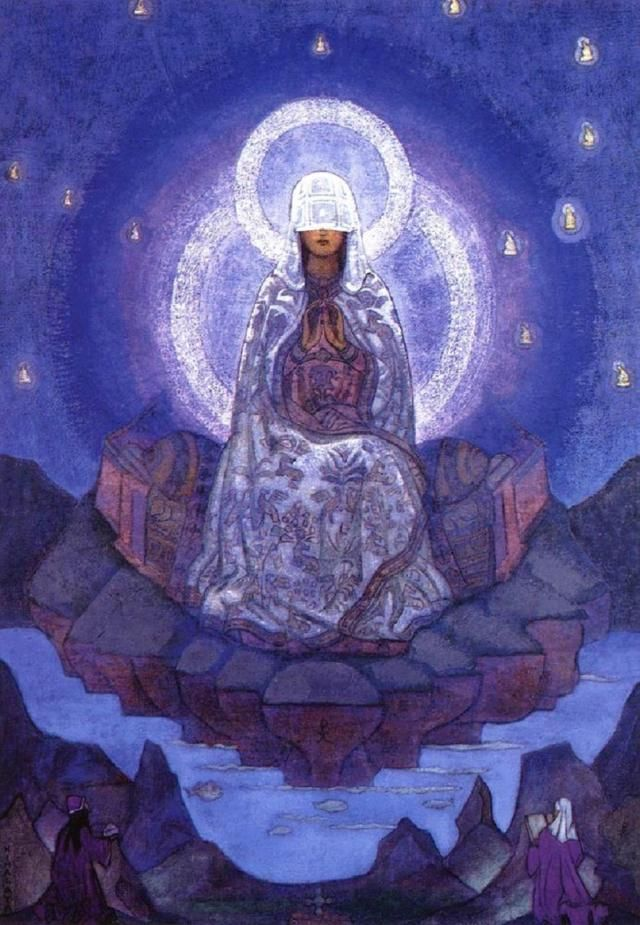 """In this painting by Nicolas Roerich, the veiled Sophia is surrounded by starlike disincarnate avatars of her wisdom, while below upon the earth, a pair of male and female mystics invoke her influence. This is a true representation of the World Soul and of transcendent appearance of Sophia Stellarum.""-Sophia: Goddess of Wisdom, Bride of God"