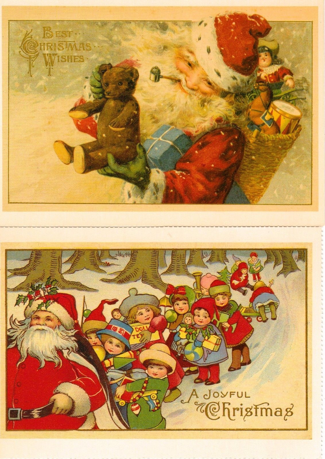 Vintage Reproduction Old Fashioned Santa Claus Postcards by