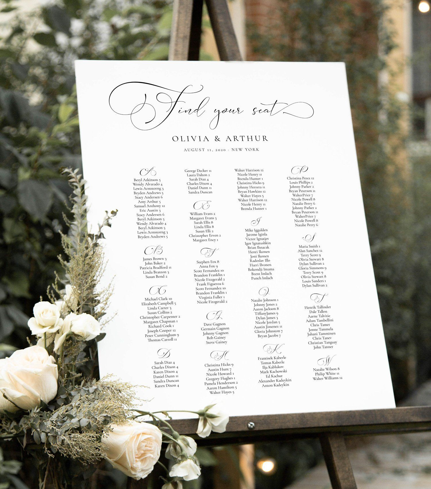 Script Elegance Wedding Guest Seating Chart Template