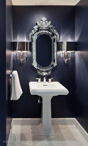 Gorgeous Simple And Chic Half Bath Contemporary Bathroom Bathroom Decor Blue Bathroom