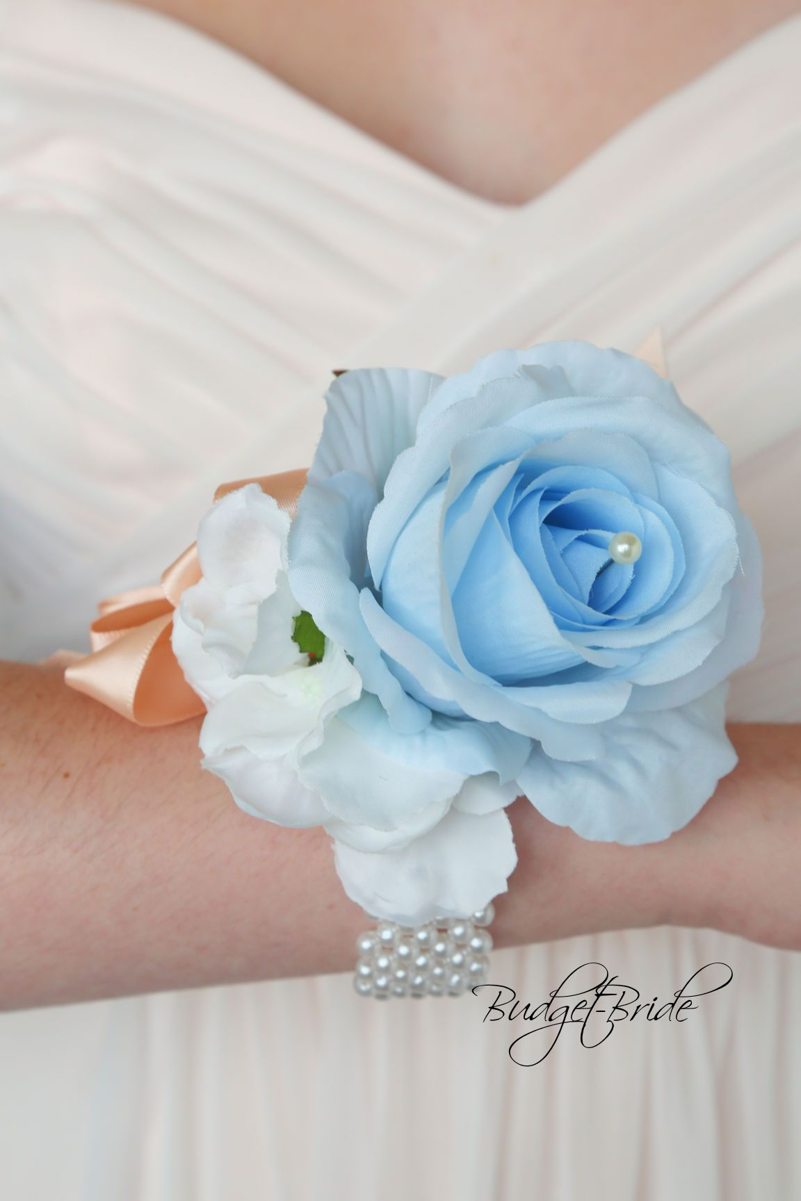 Ice Blue Davids Bridal Mens Flower Wrist Corsage For Homecoming Or Weddings Any Formal Flowers