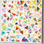 make different water color paintings, cut them into triangles, glue and mod podge=instant art work