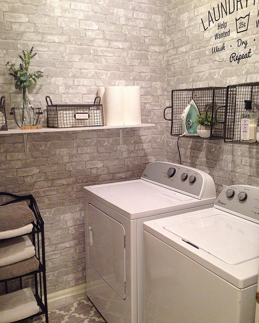 Laundry room makeover with faux brick peel and stick wallpaper   Faux brick and stone walls ...