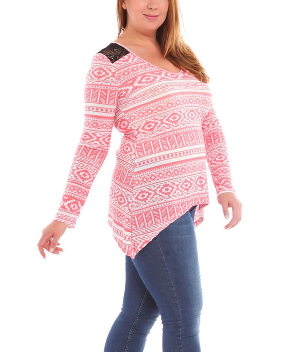 Loving this BOLD & BEAUTIFUL White & Coral Tribal Stripe Lace-Panel Sidetail Tunic - Plus on #zulily! #zulilyfinds