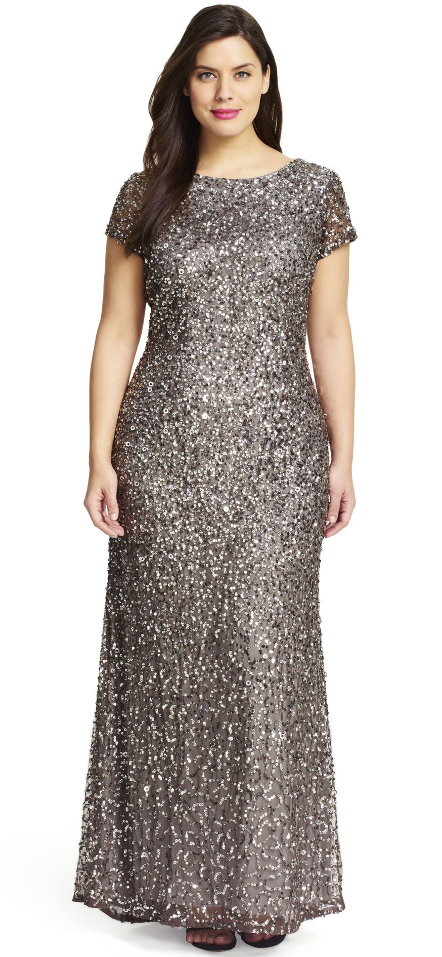 Scoop Back Sequin Gown - Formal dresses for women, Elegant dresses, Sequin gown, Sequin evening dresses, Formal dresses, Formal dresses long - Unleash the glamour at your next formal event in this striking sequin evening dress  This gorgeous sequin gown is filled with fabulous features, including short sleeves, a long, flowing soft skirt, a crew neck and a scoop back with a subtle back zipper closure  Allover embellishment and showstopping train detail renders this special occasion dress one of a kind  Pair this stunning short sleeve sequin gown with a bold, red lip and strappy heels to steal the show