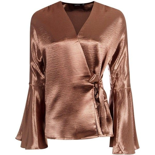 Boohoo Alice Satin Wrap Over Flute Sleeve Blouse featuring polyvore,  women's fashion, clothing,