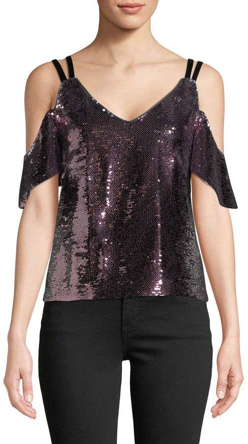 0f15a4806ca9c Nanette Lepore Cold-Shoulder Sparkle Sequin Top