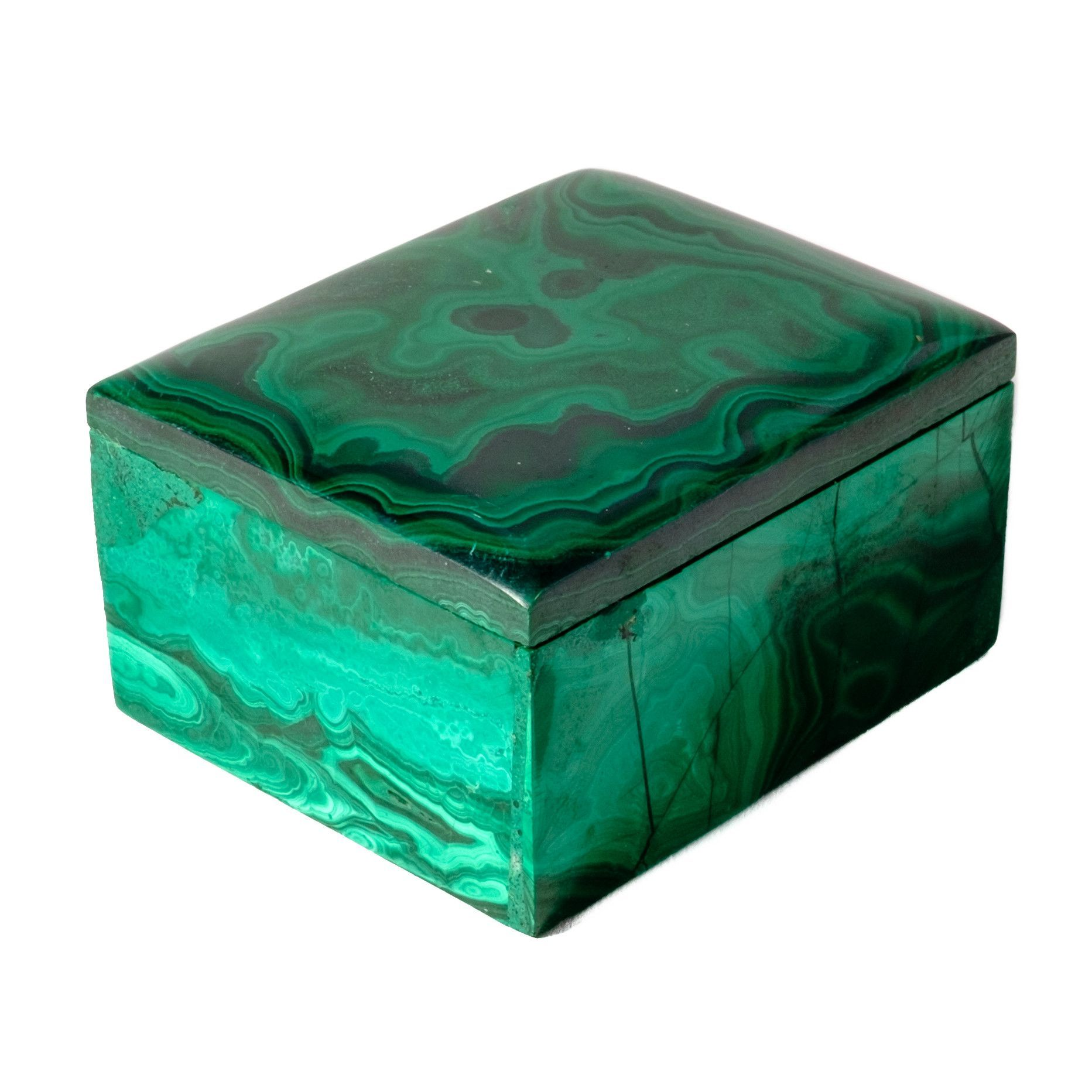 Add a bit of organic opulence and cool, on-trend style to the desk, console, or nightstand with this malachite box, polished to perfection. Malachite is a beautiful green stone that is most recognized