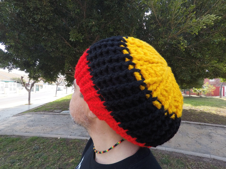 d127a30b722a4 AUSTRALIAN ABORIGINAL, Indigenous, Rasta Tam, Hat, Crown, Beret, Gorro,  Surfer, Unisex