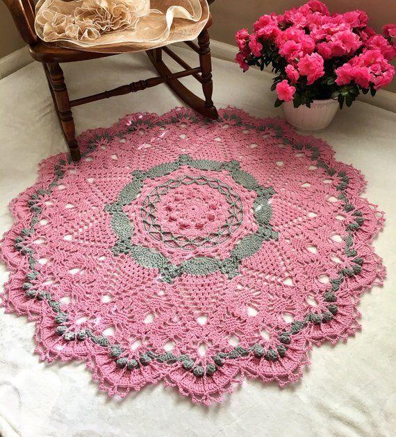 Pink and Gray Doily Rug Nursery Room Decor Area Rug
