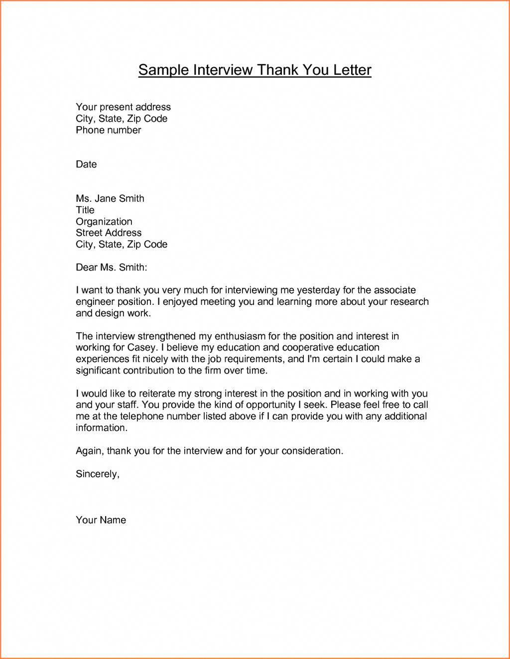 Sample Thank You Letter For Interview Email Letter Format