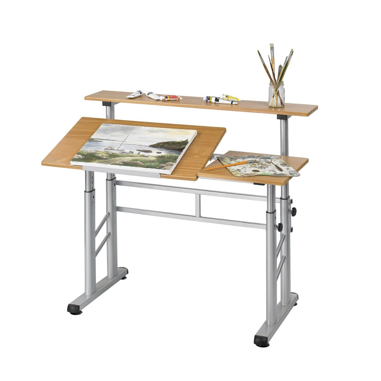 Amazon.com   Safco Products Height Adjustable Split Level Drafting Table,  Medium Oak