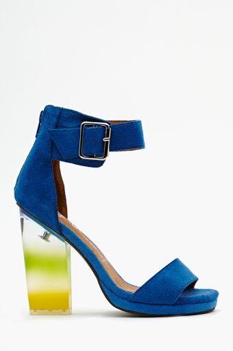 296085ca7d7 Jeffrey Campbell Soiree Platforms. Blue suede, buckled ankle strap ...