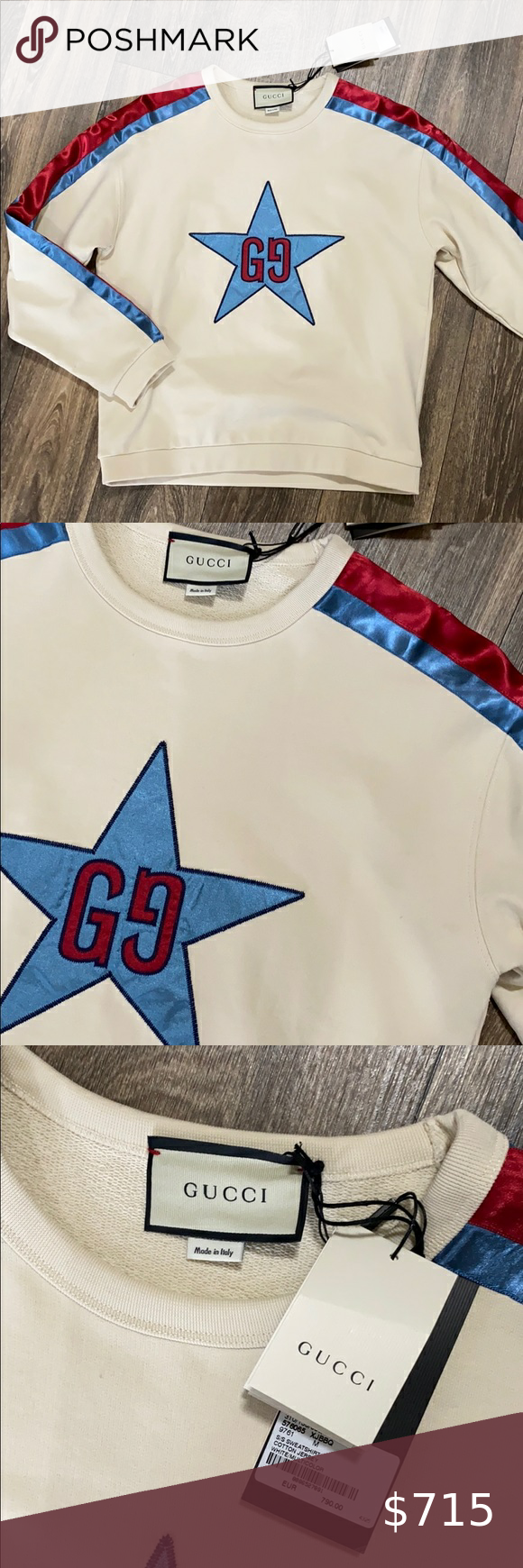 Authentic Gucci Crewneck Pullover Gucci Sweatshirt Cotton Sweatshirts Sweatshirts [ 1740 x 580 Pixel ]