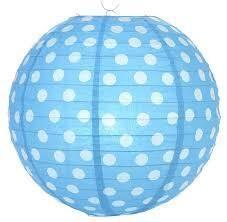 ***Lantern 14 Inch Polka Dot-Turquoise Blue
