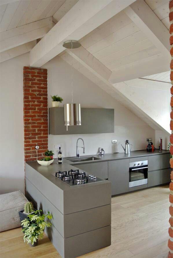Cucina penisola fuochi casa nel 2018 pinterest - Cucine per mansarda ...