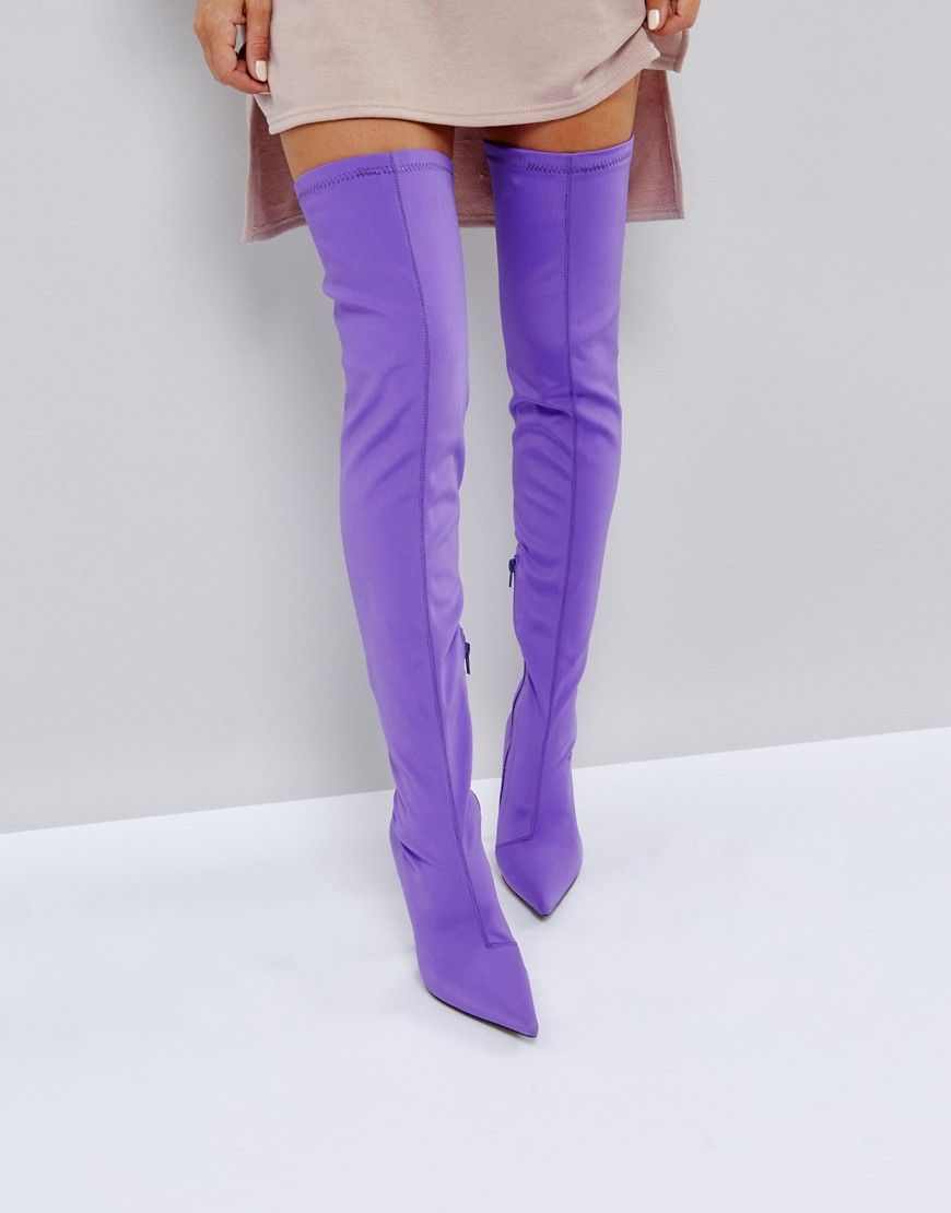 c91d5aa5b7d Public Desire Refuge Over The Knee Boots - Purple