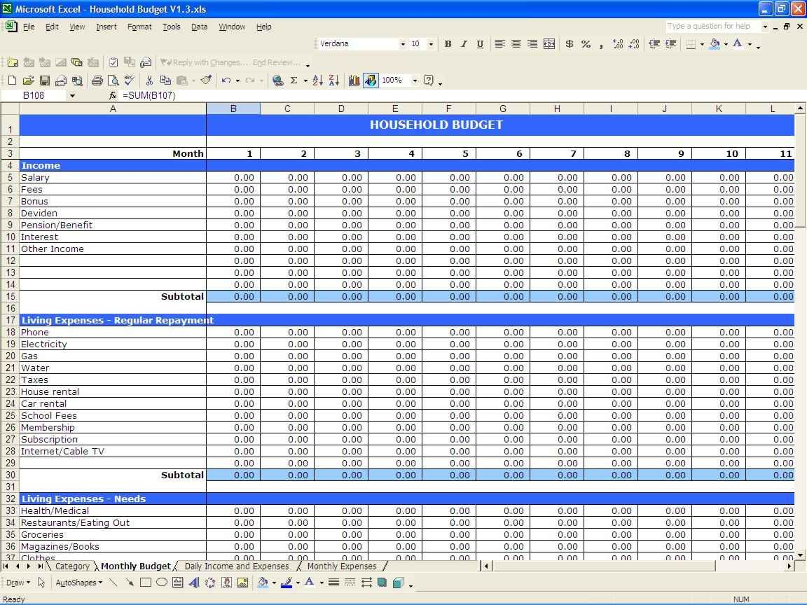 Spreadsheet For Monthly Expenses Budget Spreadsheet Template Excel Budget Template Budget Spreadsheet
