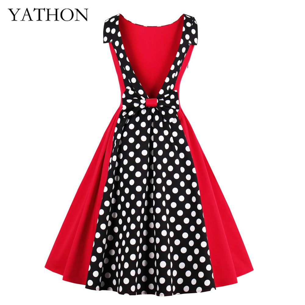 1b616e3847133 YATHON Polka Dot Sexy Backless Casual Club Party Dresses Womens Vintage  Back Bow Office Work Plus