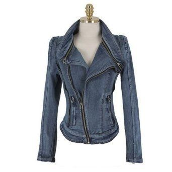Amazon.com: Zicac Women's Punk Lapel Zipper Denim Jean Coat Blazer Jacket Stylish