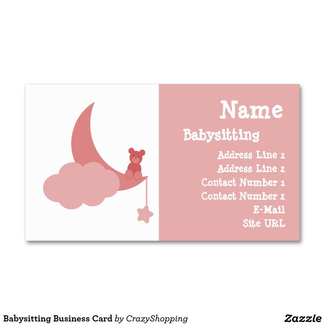 Babysitting Business Card Zazzle Com Business Cards Cards Personal Cards