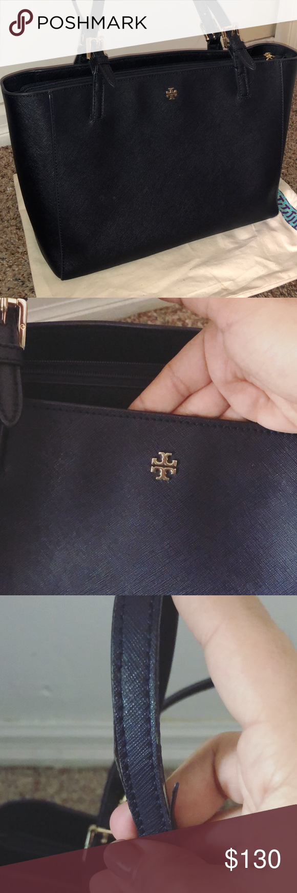 68ac86416 Tory Burch Small York Tote In EUC wear on straps as shown other than that  bag is flawless inside and out color is navy blue Tory Burch Bags Totes