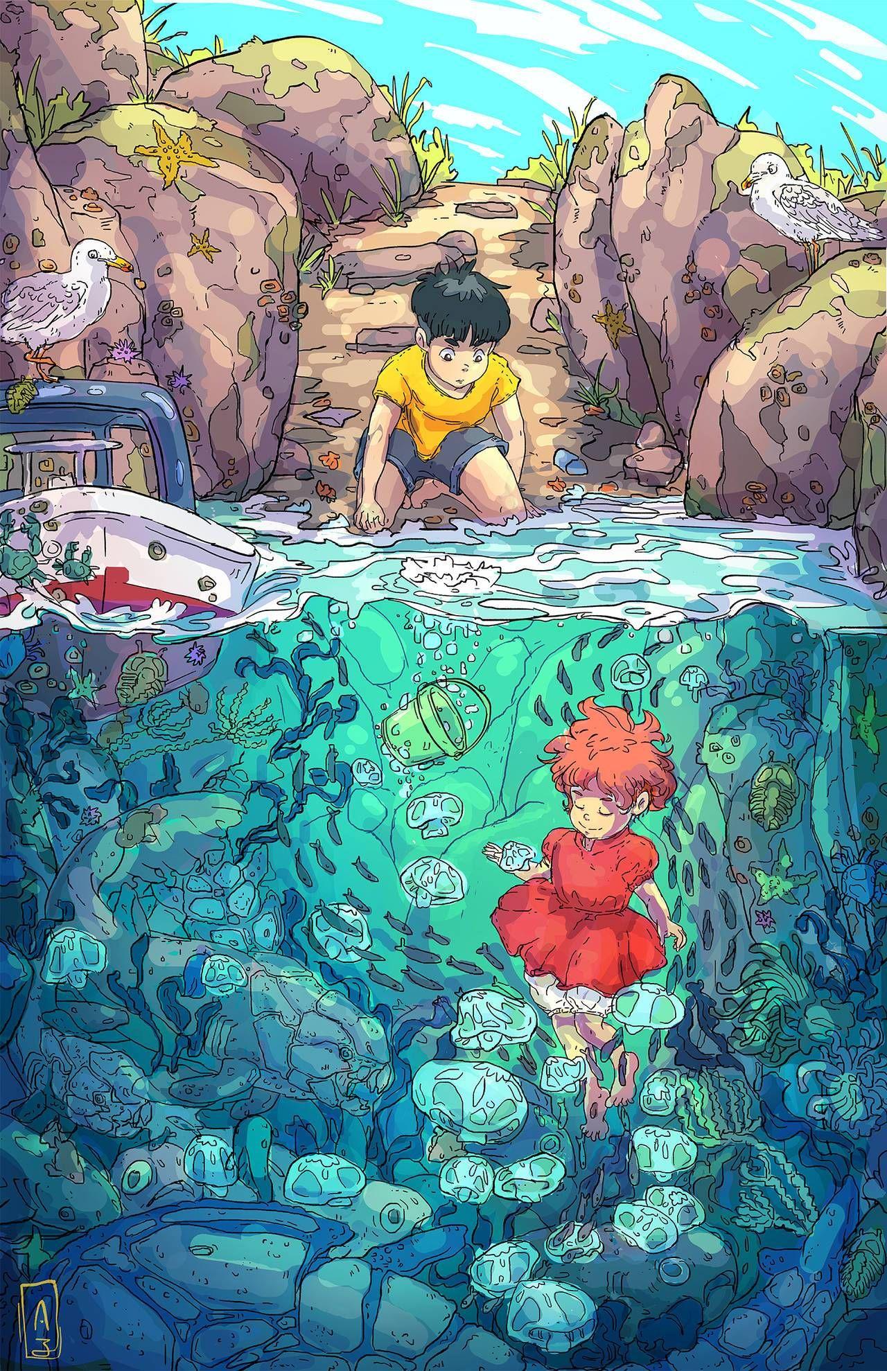 Gake no ue no Ponyo Art studio ghibli, Dessin animé