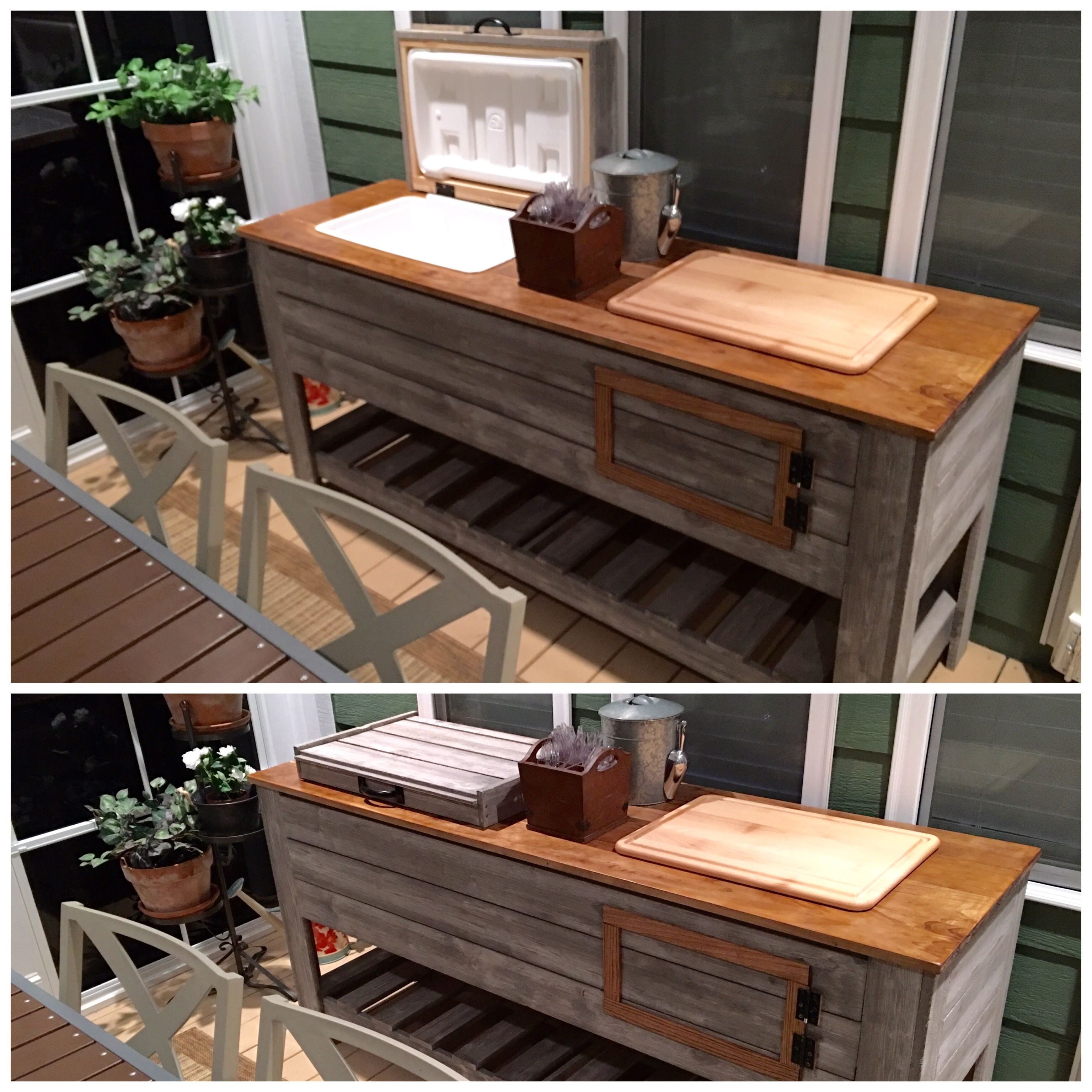 Patio Serving Table With Built In Cooler. It Still Needs Some Iron Jewelry  To