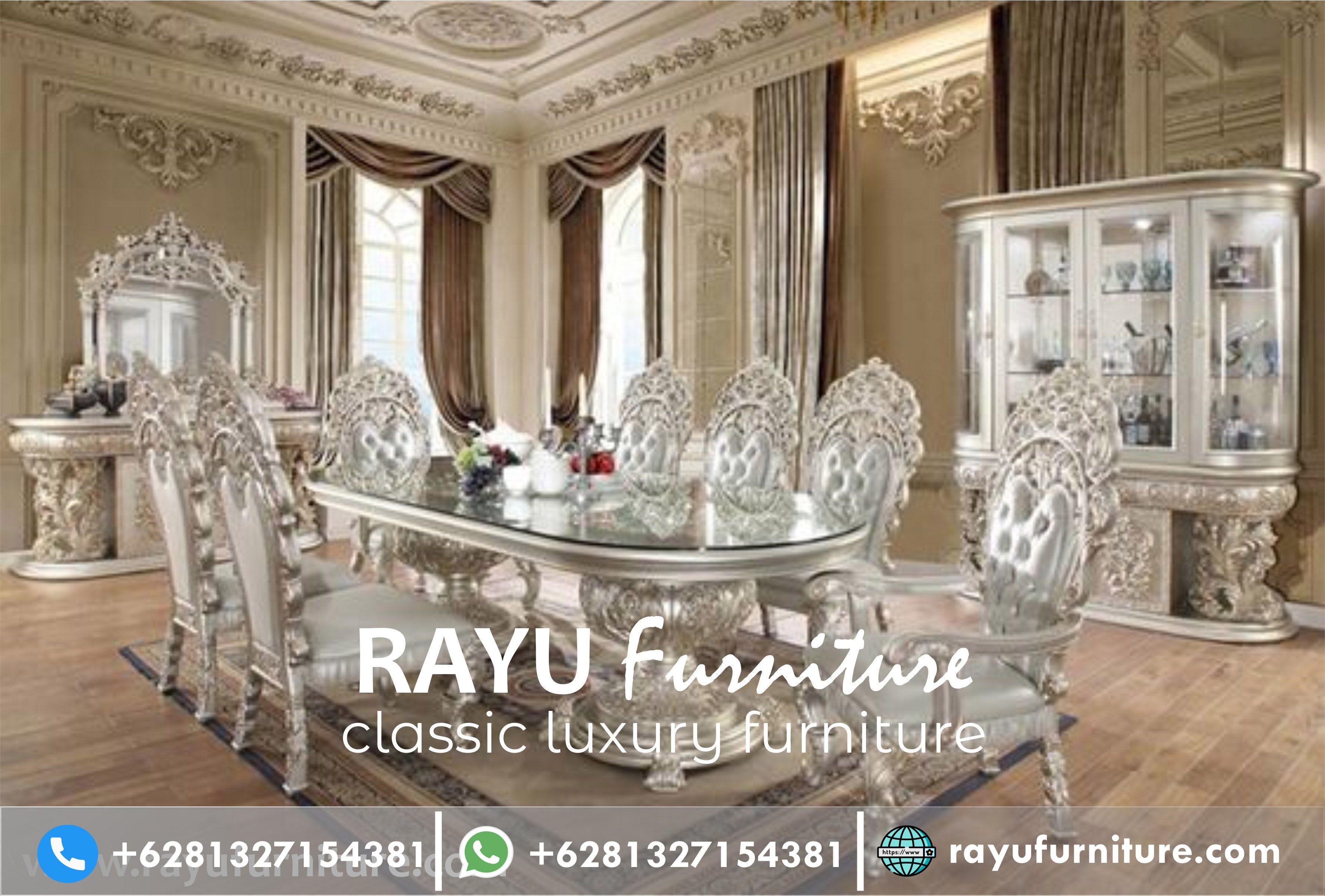 Set Meja Makan Mewah Jati Jepara In 2020 Formal Dining Room Sets Luxury Dining Long Dining Table