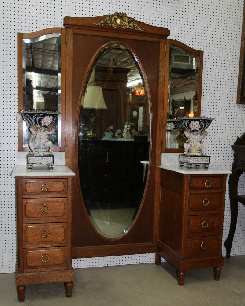 Antique Country French Vanity Princess Dresser Triple