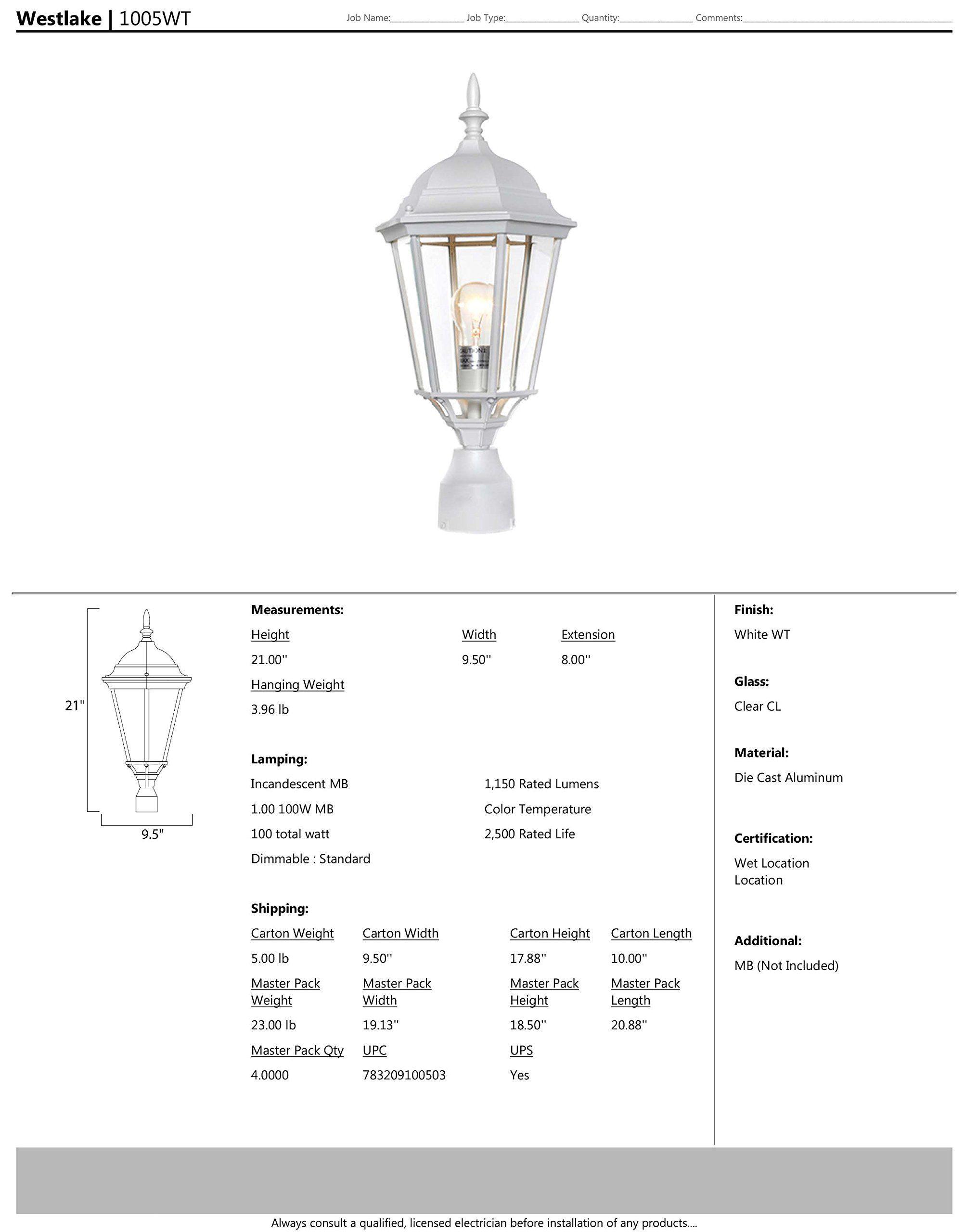 Maxim 1005wt Westlake Aluminum Lighting Post Lighting Outdoor Lighting Lighting
