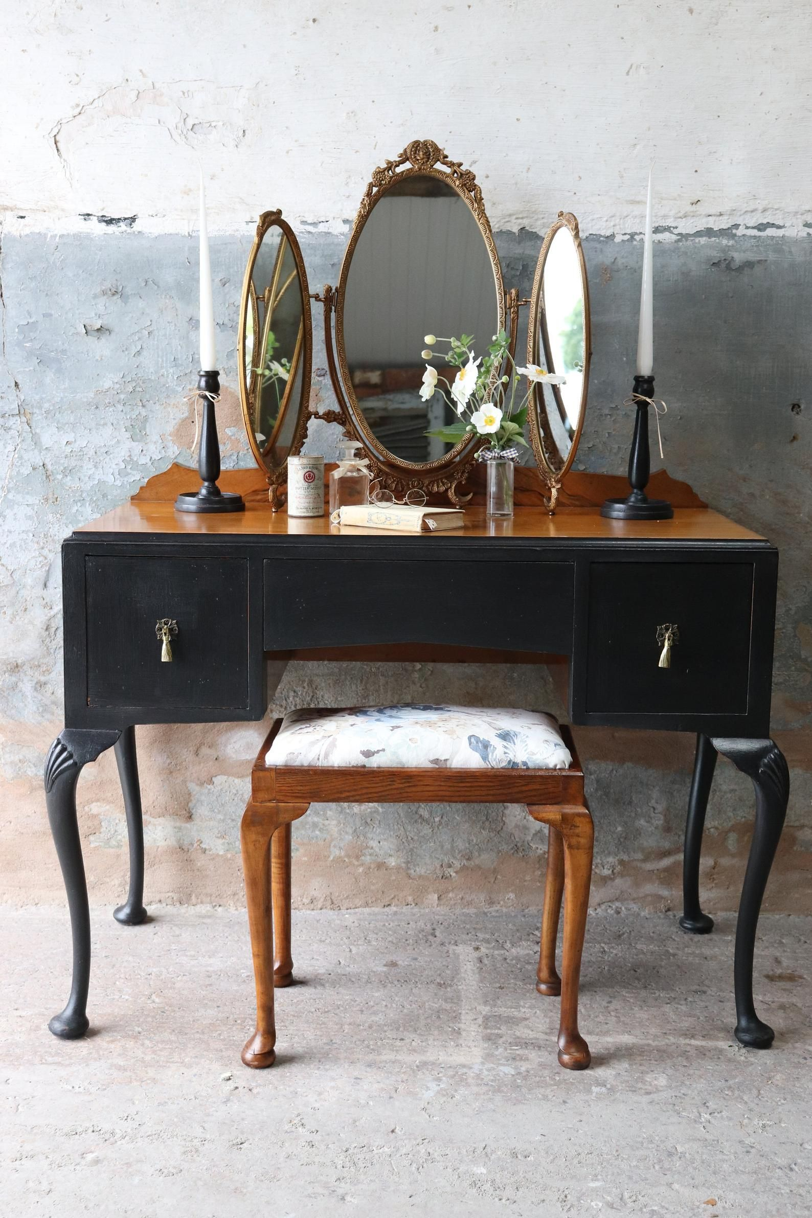 Vintage Dressing Table Stool With Pretty Reupholstered Seat