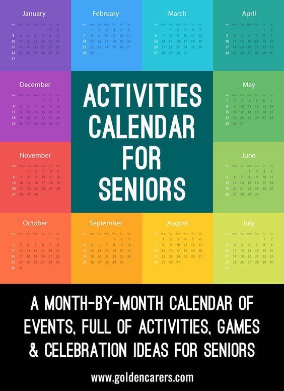 Activities Calendar For Activity Coordinators Working In