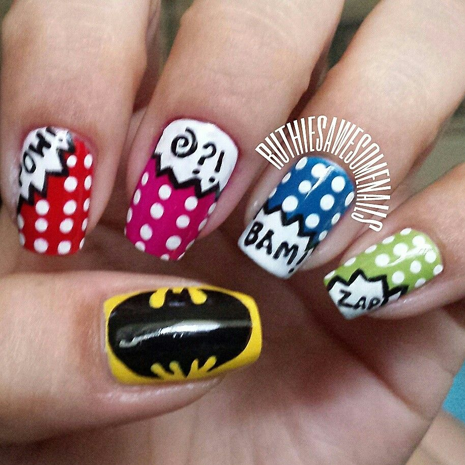 Comic Book Batman Nails #batman #comicbook #nails #nailart #dc