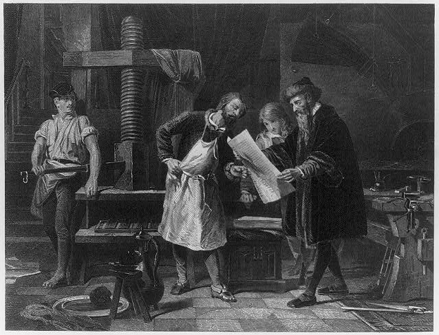 The Inventor Of Printing Press Taking First Proof Do You Think He Missed A Misspelled Word Locgov Pictures Resource Cph3b12733