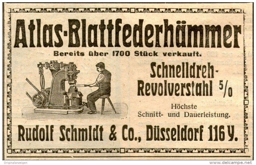 Original-Werbung/ Anzeige 1912 - ATLAS BLTTFEDERHÄMMER / SCHMIDT DÜSSELDORF - ca. 100 x 60 mm