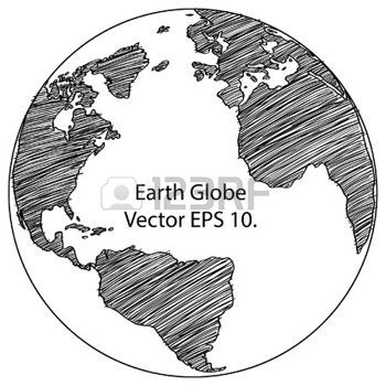 World Map Outline: World Map Earth Globe Vector Line Sketched Up  Illustrator, EPS 10