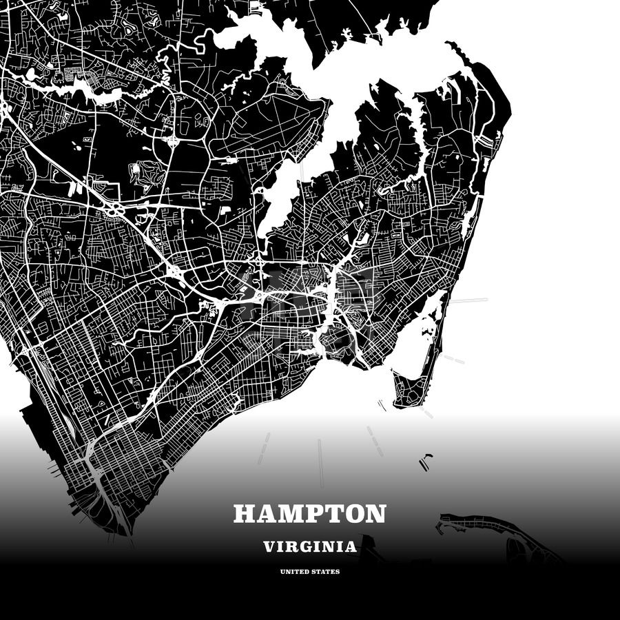 Black map poster template of Hampton Virginia USA