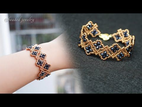 How to make crystal bracelet with seed beads and r