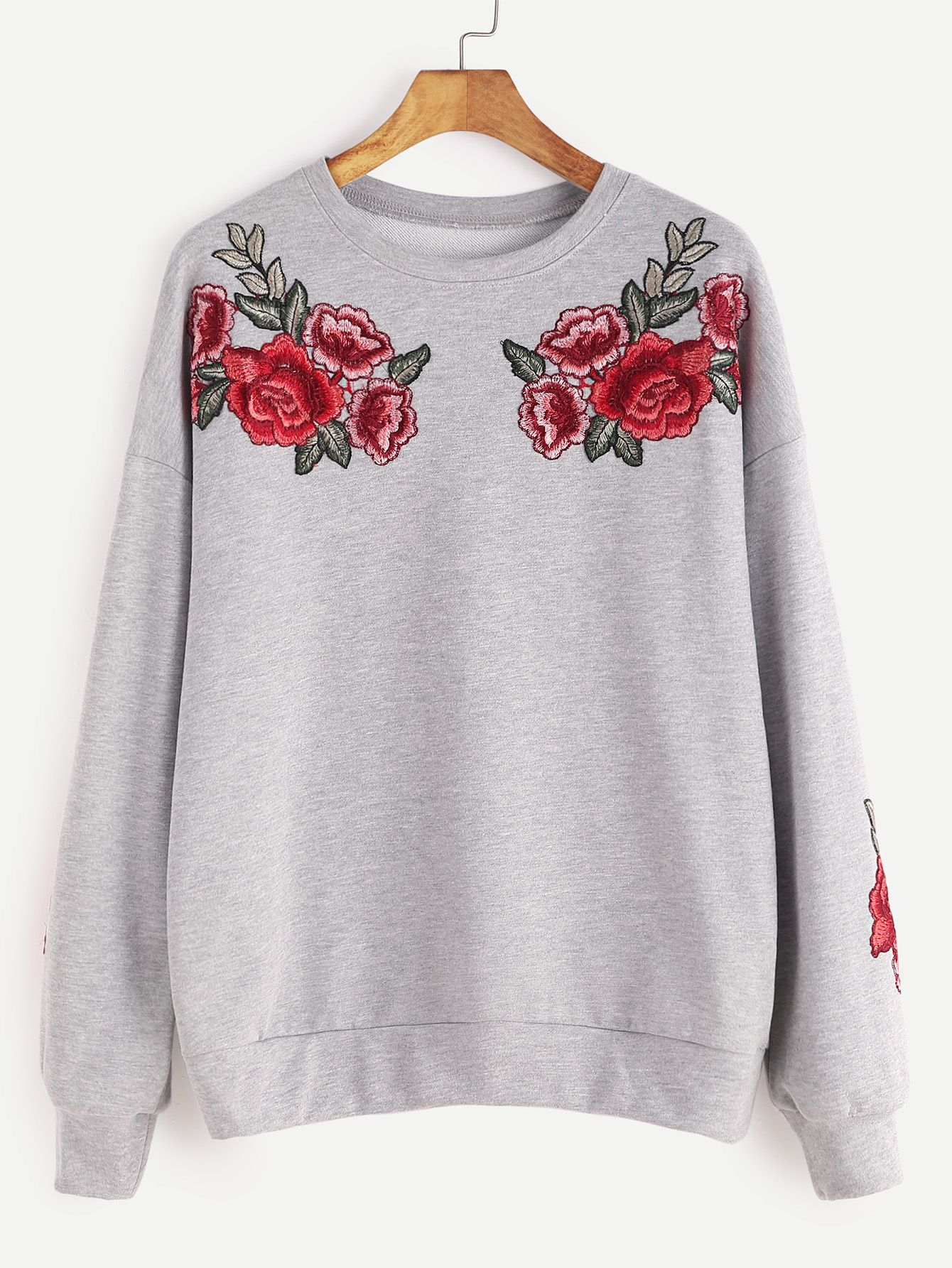 6876c483e8 Online shopping for Heather Grey Drop Shoulder Rose Embroidered Sweatshirt  from a great selection of women s fashion clothing   more at MakeMeChic.COM.