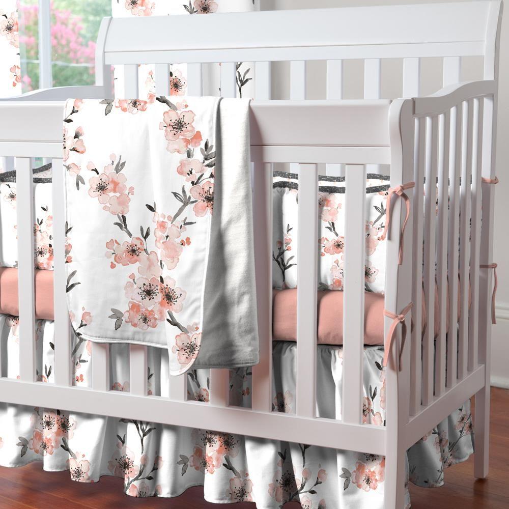 Light Coral Cherry Blossom Mini Crib Bedding