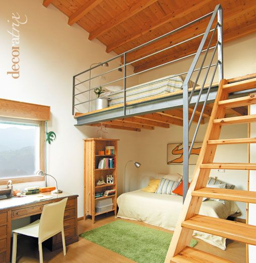 El dormitorio en un altillo playroom pinterest - Escaleras de techo ...