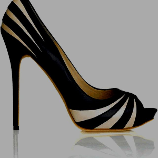 Black and white shoe.