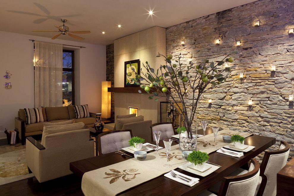 GroBartig Steinfurnier Steinwand Innendesign Wohnzimmer Esszimmer Beleuchtung  Teelichter