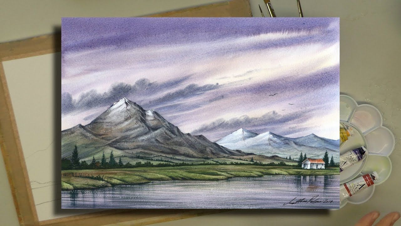 A 60 Minute Watercolour With 3 Colours And 3 Brushes Atmospheric Mountain Landscape Youtube Painting Watercolor Landscape Mountain Landscape