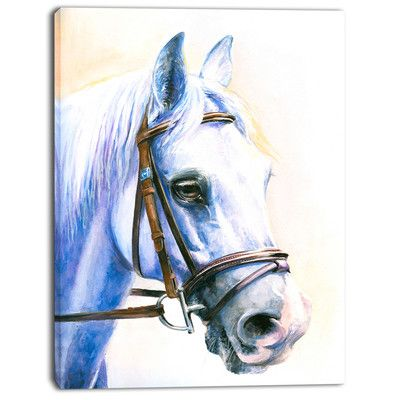 """DesignArt 'Blue Horse with Bridle' Painting Print on Wrapped Canvas Size: 20"""" H x 12"""" W x 1"""" D"""