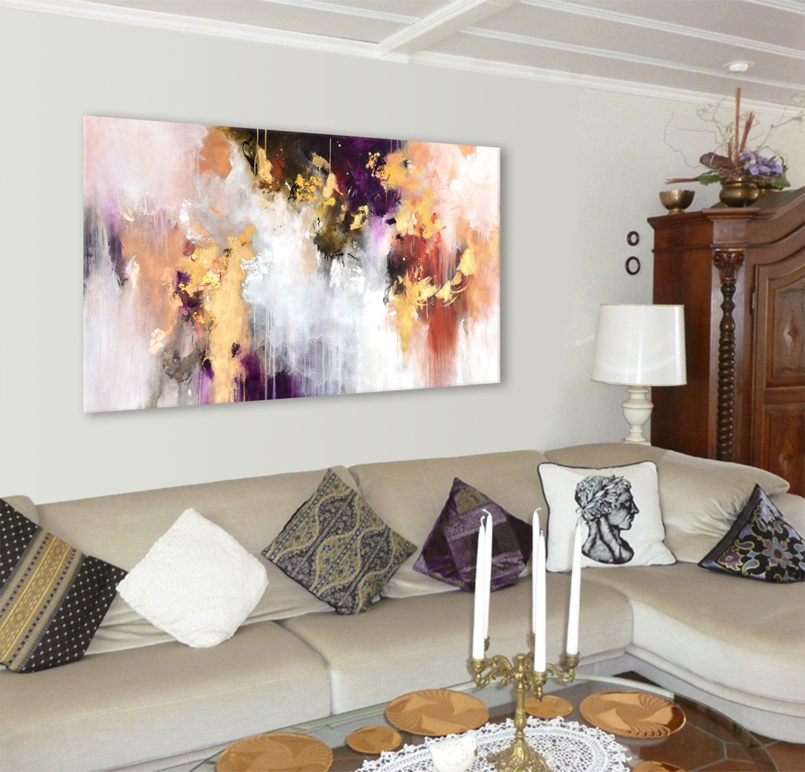 Extra Large Original Abstract Painting On Unstretched Canvas With Gold And Deep Plum 64x38 Oversize 162 X 98 Cm Metallic Artwork I 2020 Med Billeder