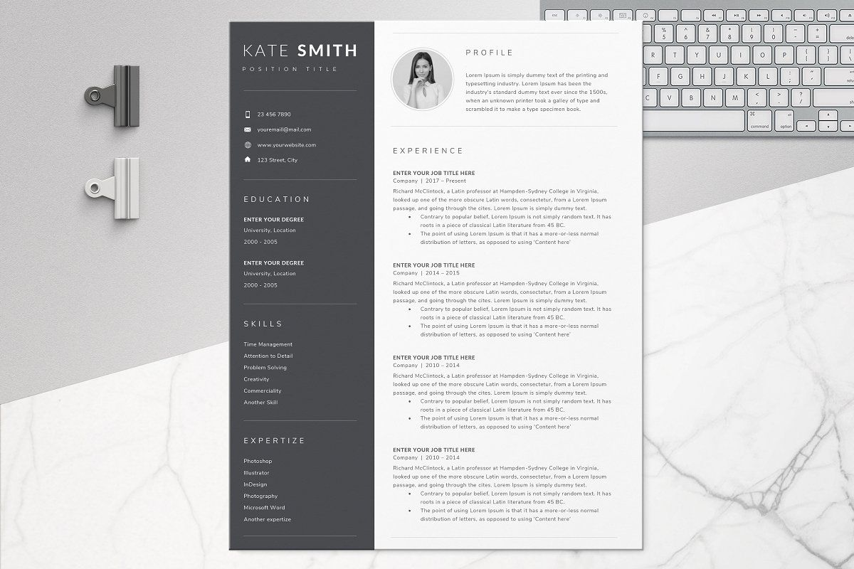 Ad Resume Template / CV (One Page) by TheResumeCoach on