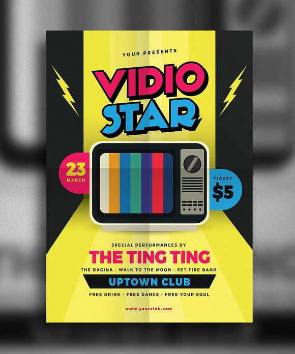 Video Star Music Flyer By Guuver On Creativemarket  Creative