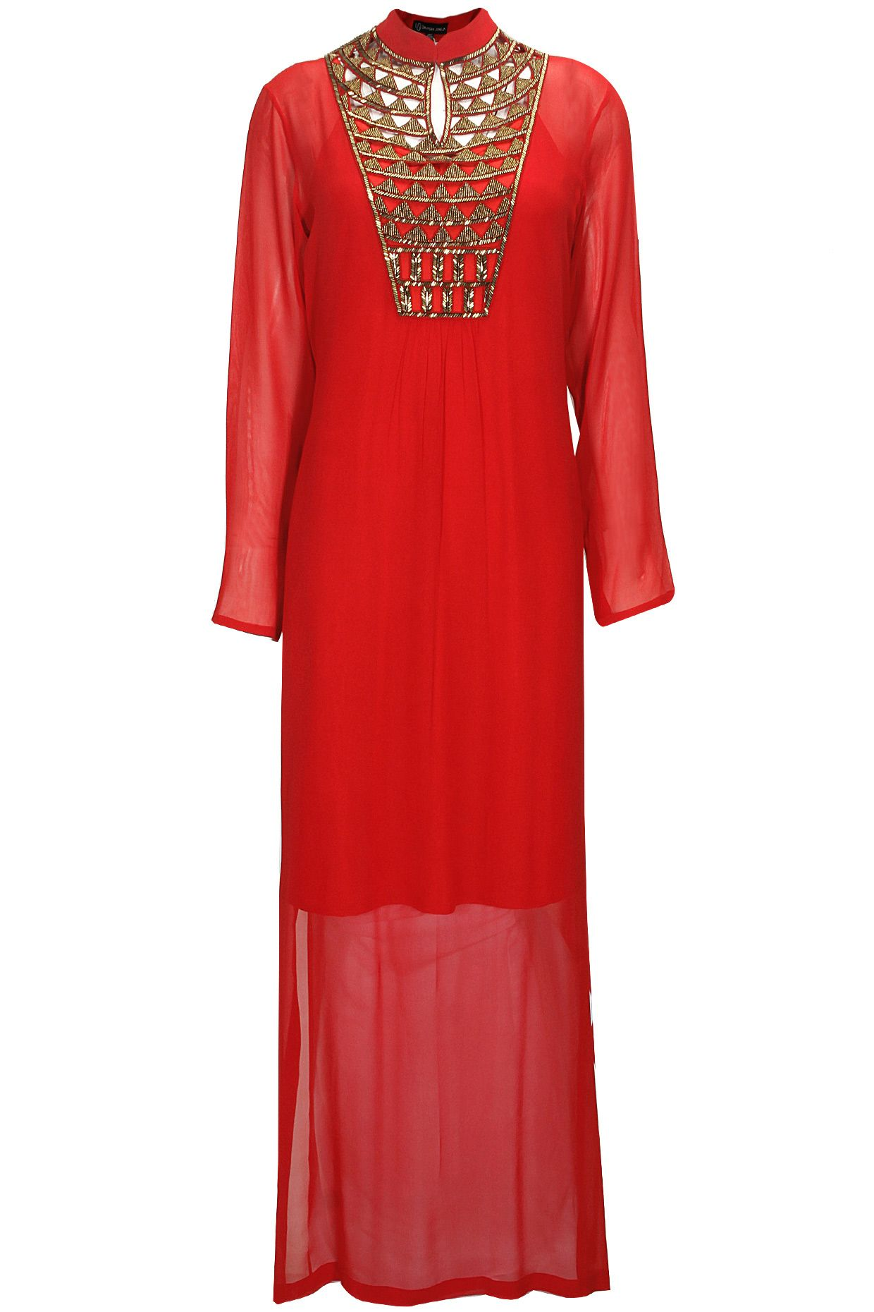 Red embroidered long dress by urvashi joneja shop at